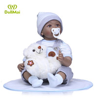 Black doll reborn 55cm silicone reborn baby dolls toys for children Ethnic African American boy doll with bear plush doll gift