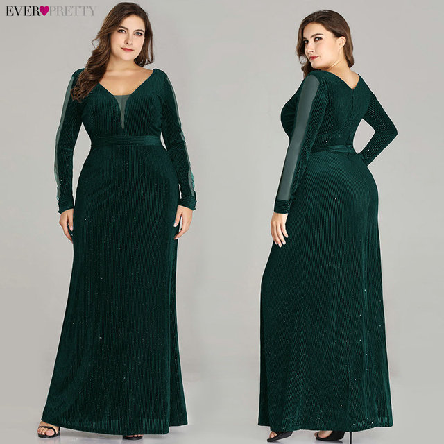 Plus Size Evening Dresses Long Ever Pretty EP07394 Elegant Sparkle Mermaid V-neck Velvet Long Sleeve Black Wedding Guest Gowns 2