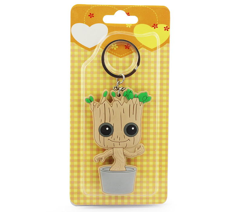 Retail 8cm Guardians of the Galaxy Tree Man People Groot PVC Keychain Pendants With Blister Card Free Shipping new funko pop guardians of the galaxy tree people groot