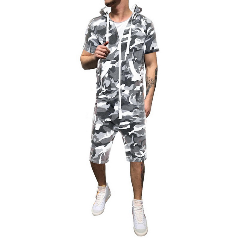 Oeak Mens Fashion Camouflage Jumpsuits 2019 New Short Sleeve Hoodies Romper Sweatshirt Zipper Tracksuit Overalls Sportswear