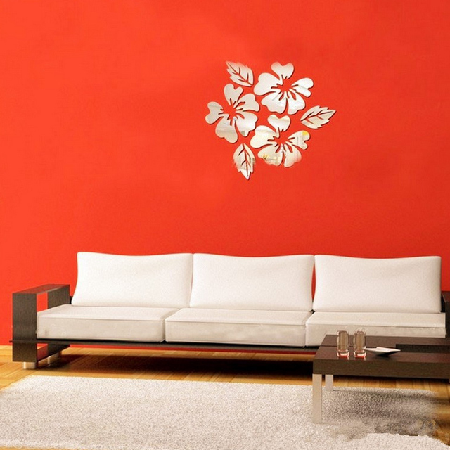 3D sticker new design flowers art sofa bed background modern acrylic home decoration diy mirror wall stickers 3