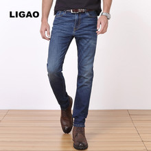 LIGAO 2017 Men's Jeans Men Denim Jeans Classic Basic Style Male Slim Denim Long Pants Trousers Elastic Breathable Plus Size