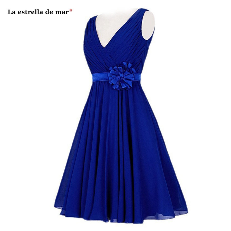 vestidos de damas de honor boda Hot Chiffon Sexy V-neck Halter A Line Royal Blue Watermelon Red Dark Blue   Bridesmaid     Dress   Tea