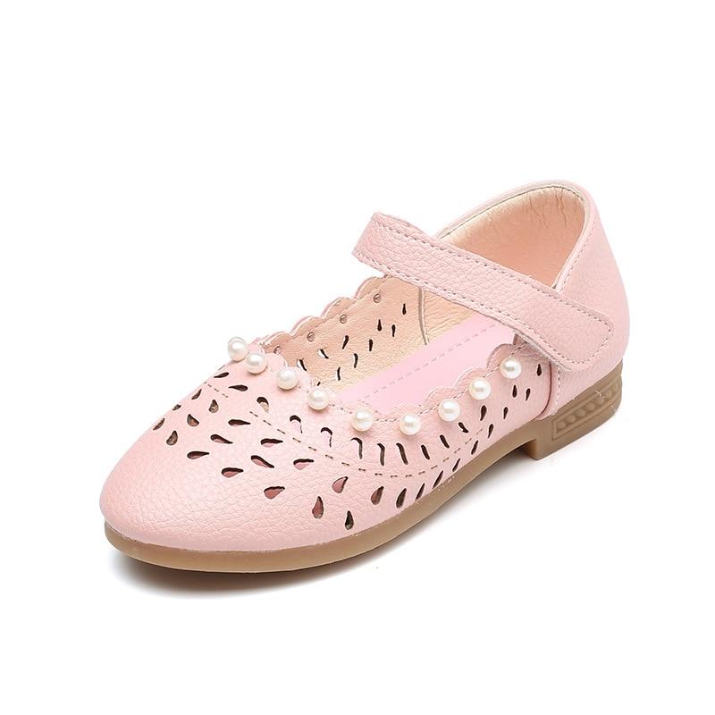 Kids moccasin sko 2019 efterår ny mode rosa hul perle oksekød senge bløde læder piger prinsesse hæle læder skole sko