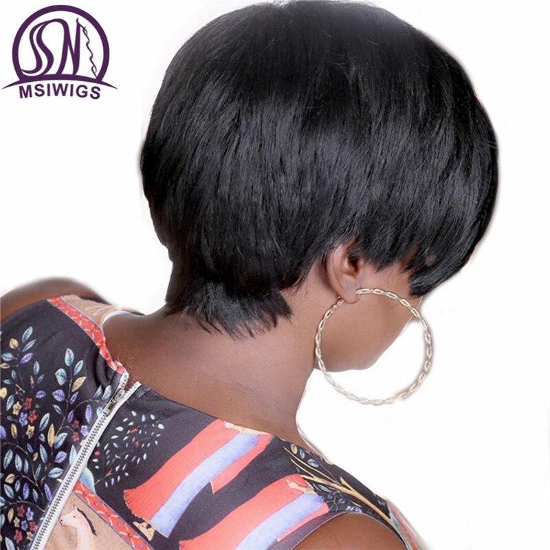 MSIWIGS Svart Färg Bobo Style Korta Pruikar För Kvinnor Hög - Syntetiskt hår - Foto 5