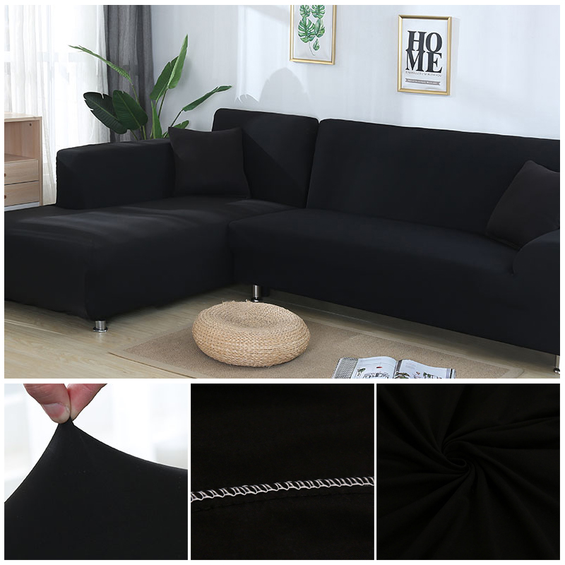 L shaped Solid Sofa Cover with Elastic for Sectional and Corner Sofa with Deep Gap Suitable in Living Room and Office 21