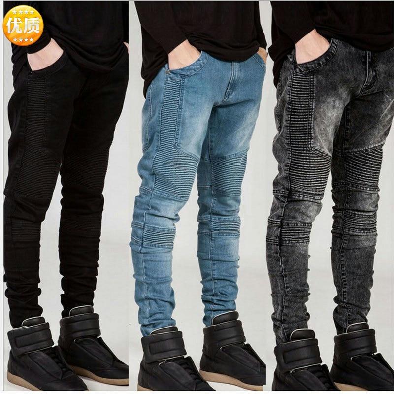 Men Jeans Runway Slim Racer Biker Jeans Fashion Hiphop Pleated Skinny Jeans For Men