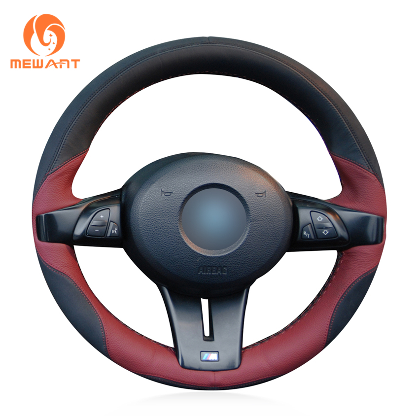 MEWANT Black Maroon Leather Black Suede Car Steering Wheel Cover for BMW Z4 2006 2007 sx 005 360 degree rotating vehicle general magnetic phone mount holder