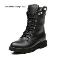 BIMUDUIYU Classic Ankle Martin Boots Trendy Motorcycle Men Couple High Cut Rivet Snow Boots Winter Warm Flat Shoes Russian Style
