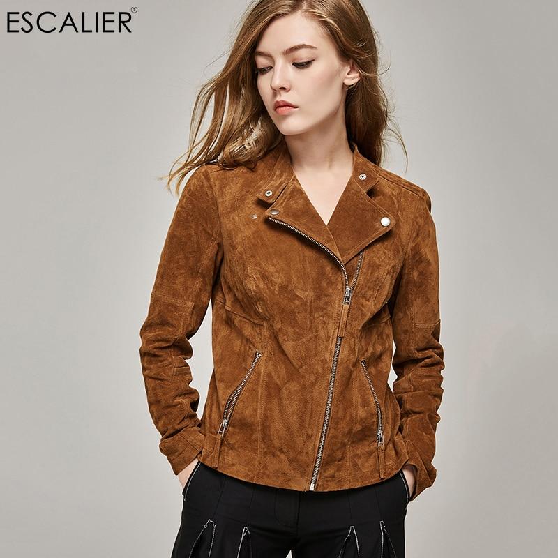 Escalier 2017 Fashion pig split Leather Jacket Women Zipper Slim Motorcycle Outerwear Coats Genuine Leather Basic Jackets