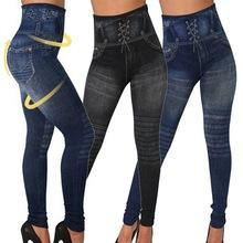 2019 jeansy damskie legginsy niebieskie paski legginsy z nadrukami damskie imitacje Jean dopasowane legginsy do fitnessu elastyczne bezszwowe legginsy tanie tanio WOMEN Poliester Drukuj Wysoka Dzianiny Kostek Cienkie Na co dzień women legging NIBESSER