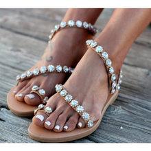 купить Summer Women Sandals Bling Crystal  Party Shoes Woman Beach Flat Sandals Plus Size 43 Flip Flop Ladies Soft Bottom Slippers по цене 659.3 рублей