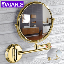 Bathroom Mirror Stainless Steel Wall Mounted Cosmetic Mirror Magnifying Make Up Mirror Gold 8 Inch Folding Double Sided Rotating недорого
