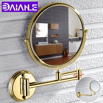 цена на Bathroom Mirror Stainless Steel Wall Mounted Cosmetic Mirror Magnifying Make Up Mirror Gold 8 Inch Folding Double Sided Rotating