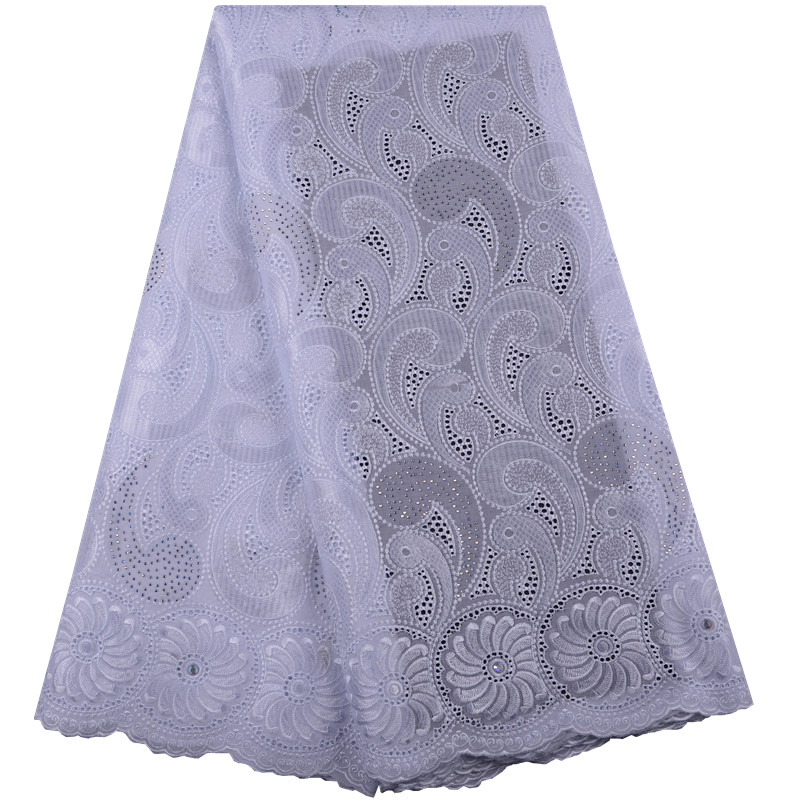 African Lace Fabric High Quality Lace White Cotton Nigerian Embroidered Swiss Voile Lace in Switzerland Wedding