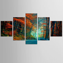 5 panel red maple leaf road landscape canvas mural art home decoration living room canvas printing modern painting FJJX-353(China)