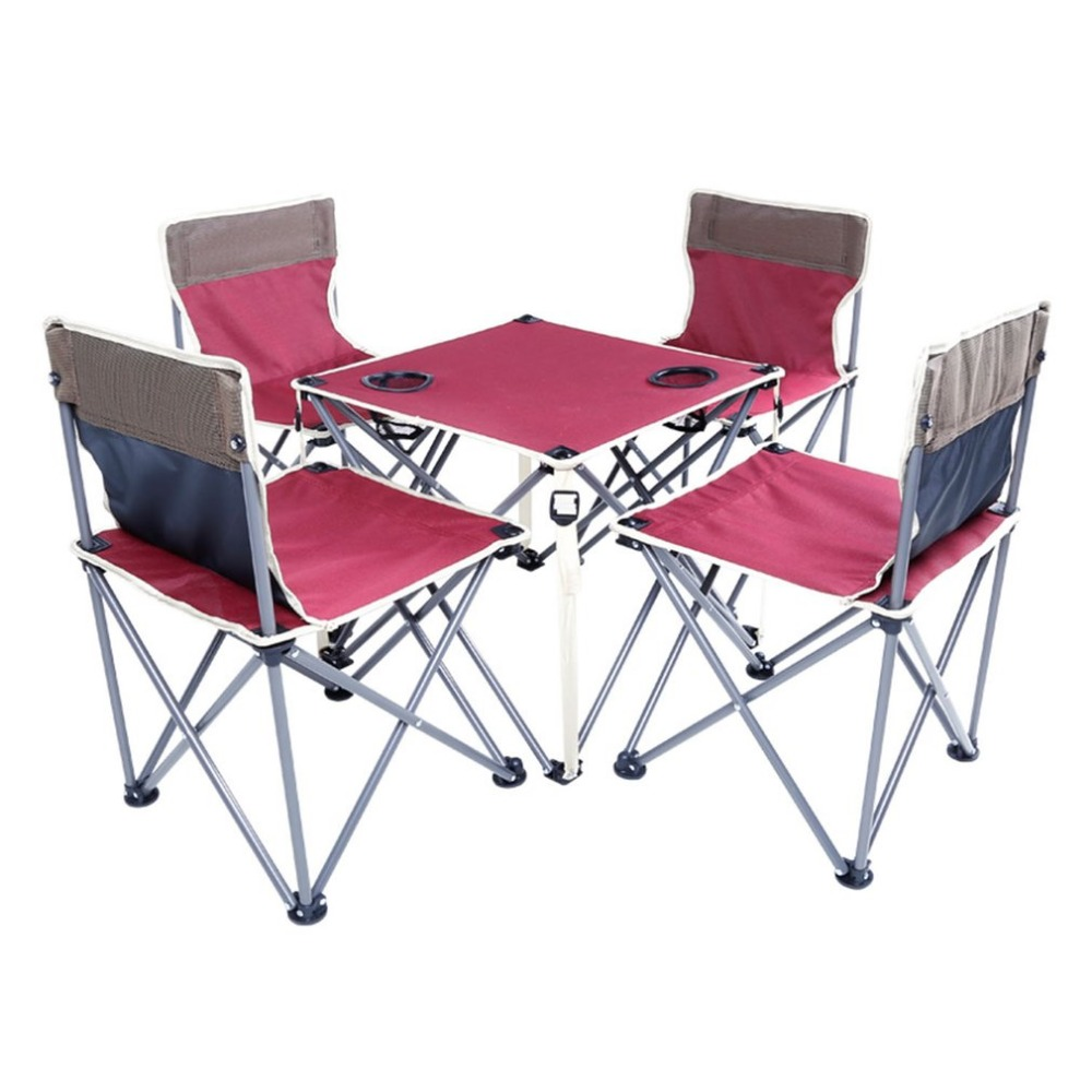 Portable Folding Beach Table and Chair Five Sets Burgundy Integrated Design High Stability for Outdoor Activities