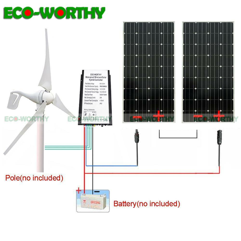 ECOworthy 600W 24V Wind Solar Hybrid System 400W Wind Turbine Generator 200W 12V mono Solar power