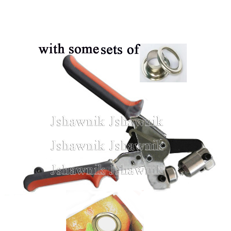 Manual eyelet punch plier machine with some sets of silver color eyelets