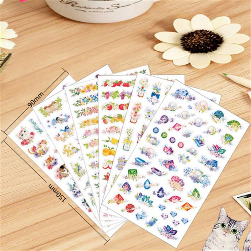 6 sheets/lot DIY Cute Kawaii Flower PVC Sticker Cartoon Cat Stickers For Home Decoration Photo Album Diary Free Shipping 3468 auto accessories chameleon sticker 30m 1 52m functional car pvc red copper color stickers home decorative films stickers