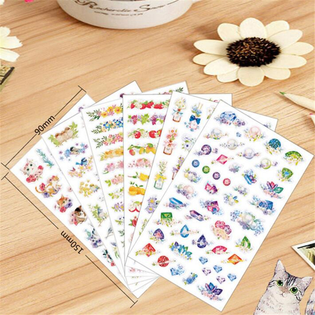 6 sheets/lot DIY Cute Kawaii Flower PVC Sticker Cartoon Cat Stickers For Home Decoration Photo Album Diary Free Shipping 3468