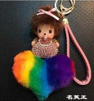 Mode weihnachtsgeschenk bunny regenbogen serie Inlay Kristall kiki Puppen pelz Keychain schlüsselanhänger Frau tasche charme Anhänger porte clef