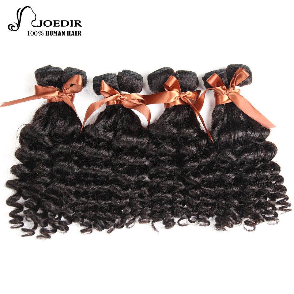 Joedir Natural Color 10 To 26 Inches Brazilian Fumi Curly 100% Human Hair Non-Remy 4 Bundles Deal Hair Extension Free Shipping