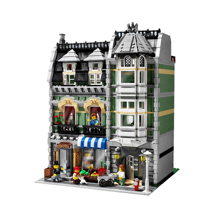 Lepin 15008 2462Pcs City Street Green Grocer Model Building Kits Blocks Bricks  Educational toys Compatible legoed  10185 lepin 15008 2462pcs city street green grocer legoingly model sets 10185 building nano blocks bricks toys for kids boys