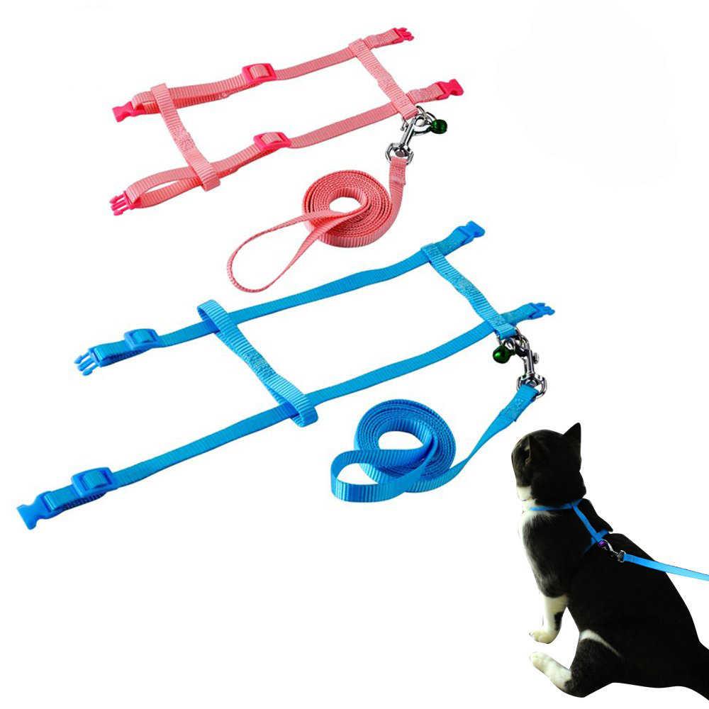 ペットの猫の首輪ハーネスとリーシュ調整可能なナイロン牽引犬子猫ホルター襟猫製品猫ペットハーネスベルト