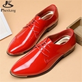 2017 Patent leather men's business casual shoes Men Oxfords Lace-Up Men Wedding Shoes Dress big shoe US size 11 black white red