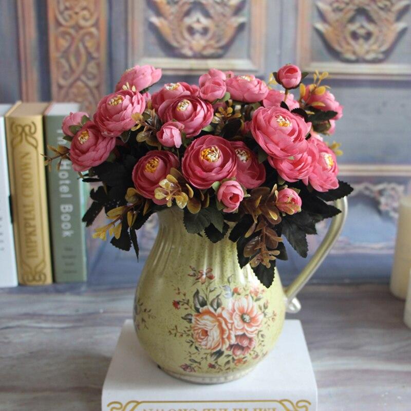 Peonía flores artificiales de seda de flores 6 ramas caen vivid keythemelife fak