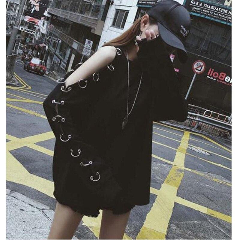 European American Style Hoodie Women Solid Color Long Sleeve Off Shoulder Iron Ring Sweatshirts Woman Loose Women Pullovers