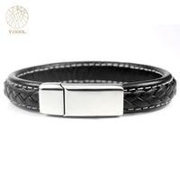Fashion Bracelets Men Female Custom Made Titanium Jewelry Braided Magnetic Clasp Handmade Genuine Leather Bracelets 038