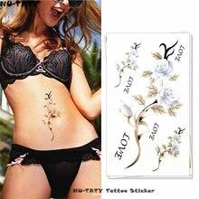 Nu-TATY White Roses Temporary Tattoo Body Art Arm Flash Tattoo Stickers 17x10cm Waterproof Fake Henna Painless Tattoo Sticker