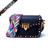 VALENMISA Famous Brand Rivets Genuine Leather Shoulder Bags Colorful Straps Ladies Messenger Bags Designer Crossbody Bags
