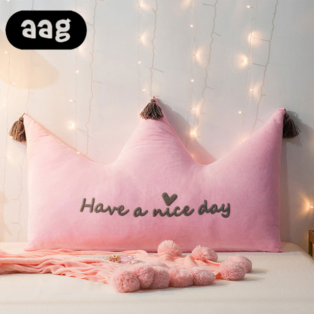 Aag Crown Shape Cushion Pillow Couch Back Lumbar Support Princess Style Kids Room Bedroom Bed Sofaa Decorative