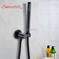 Classic Style All Copper Round Handheld Shower Head PVC Hose Connector Adjustable Wall Holder Black Matte