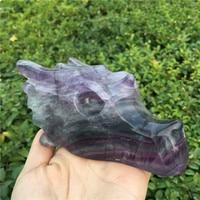 Natural Colored Fluorite Handmade Skull Jade Skull Gemstone Carving Crystal Healing Reiki Home Decor Stone Crystal Craft