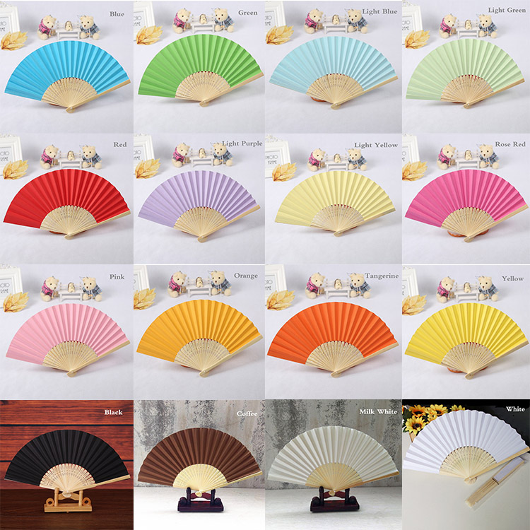 100pcs Personalized Wedding Favor Gift DIY Candy Color Paper Fan Bride Hand Fan with Bamboo Ribs