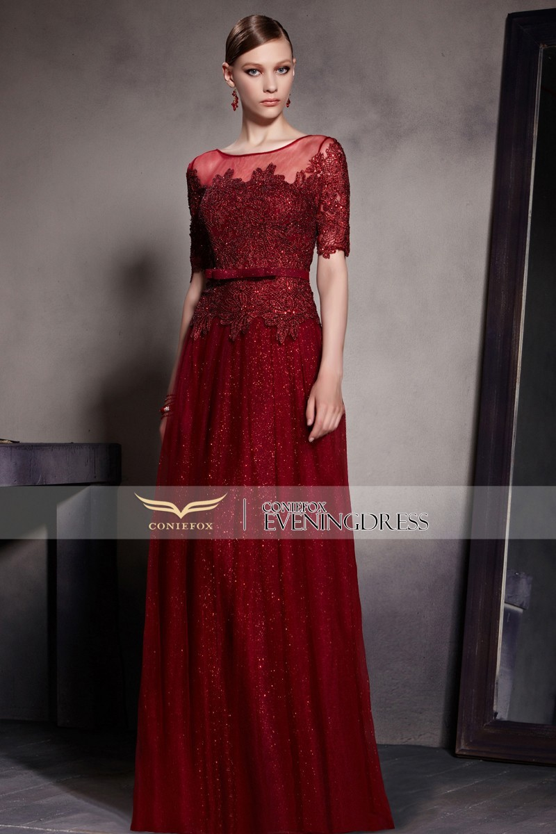 dd342462136 Coniefox robes de noche Paillettes Dentelle Longue Formelle Robes De Soirée  2016 Rouge Étage Longueur Femmes Robe De Bal robe longo 30521 dans Robes De  ...