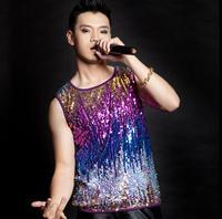 Dance singer stage rock colorful gradient sequins vest men modern costume personalized paillette sleeveless vests mens fashion