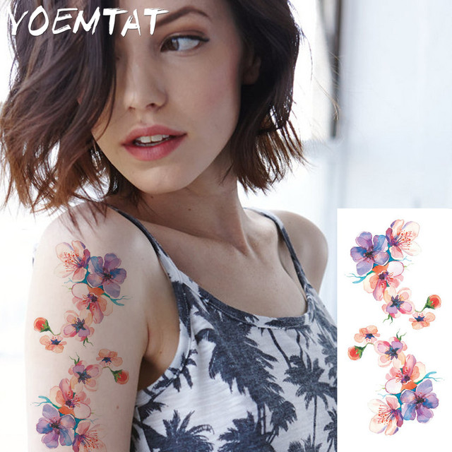Aquarelle Cerise Fleurs Bras Epaule Autocollants De Tatouage Flash