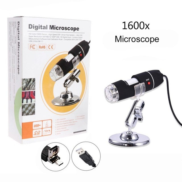 US $15 58 30% OFF 1600X 2MP Zoom Microscope 8 LED USB Digital Handheld  Magnifier Endoscope Camera Electronic Stereo USB Micro Usb High  Resolution-in