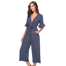 hot deal buy autumn new fashion women polka dot jumpsuit v neck sexy jumpsuit tiered flare sleeve polka dot jumpsuit ladies elegant jumpsui