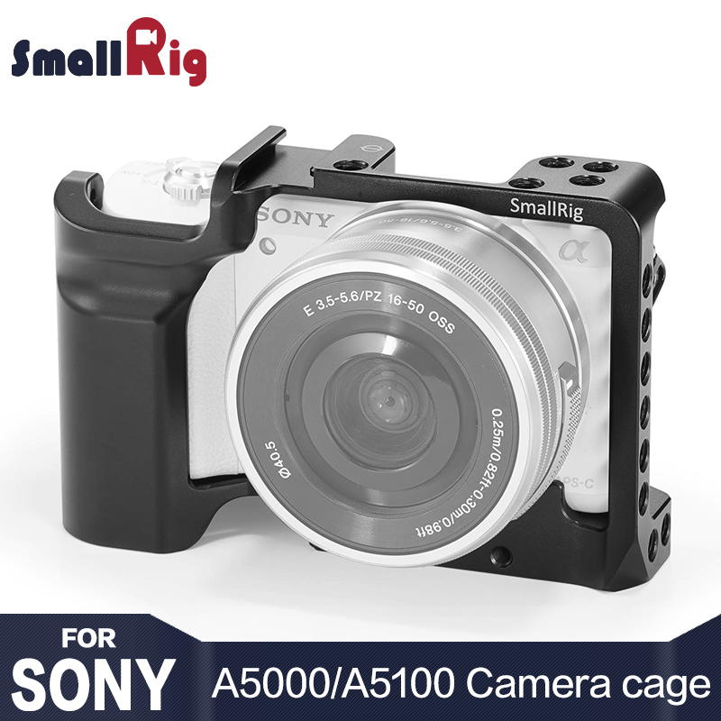 SmallRig Cámara jaula para SONY A5000/A5100 con zapato montaje de hilo agujeros para micrófono Monitor adjunto para Vlogging 2226