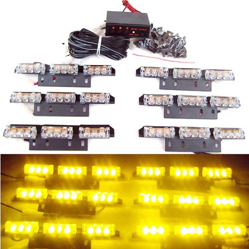 ФОТО New Car Auto 54 LED strobe Light Blink Flash Yellow   Lights/Light bars for Deck Dash Grillet  red blue amber white