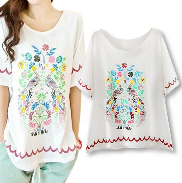 New Desigher Print T-shirt  Fashion Soft Loose Short Sleeve T Shirt Tops WF-4519