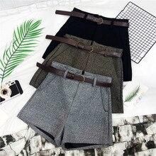 Формальные женские шорты осень-зима Корейский стиль Высокая талия толстый Шерстяные широкие шорты с поясами Женский Серые черные зеленые повседневные шорты