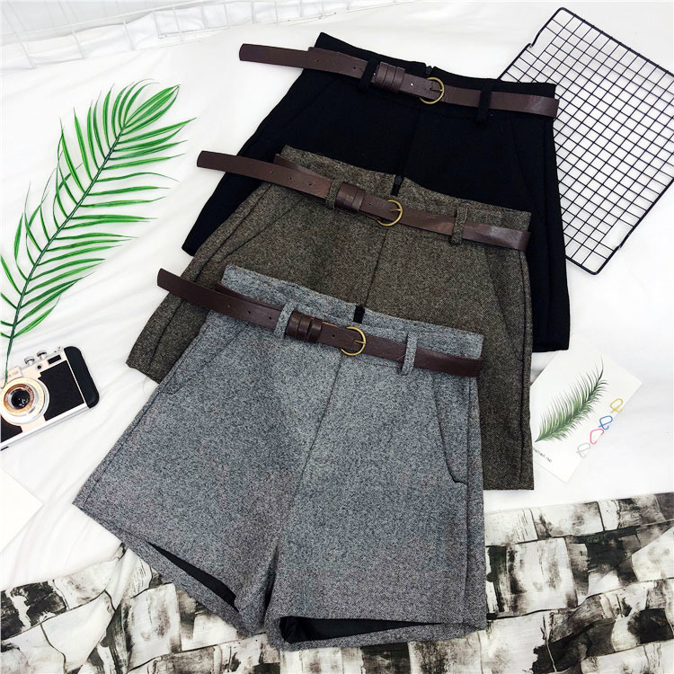 Autumn Winter Formal   Shorts   Women Korean High Waist Thick With Sashes Wide Leg   Shorts   Female Gray Black Green Casual Bottom