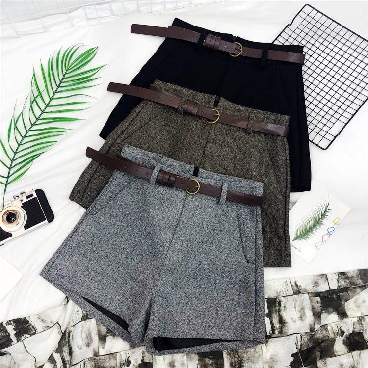 Autumn Winter Formal   Shorts   Women Korean High Waist Thick With Sashes Wide Leg   Shorts   Female Gray Black Green Casual Bottom